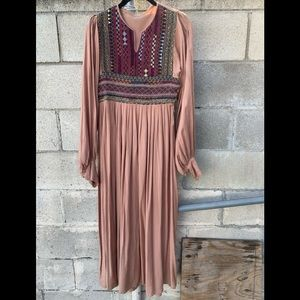 70's Indian Cotton hand embroidered vintage dress